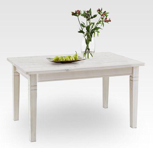 Esstisch 140x90cm weiß lasiert Kiefer Esszimmertisch Tisch Vollholz massiv – Bild 1