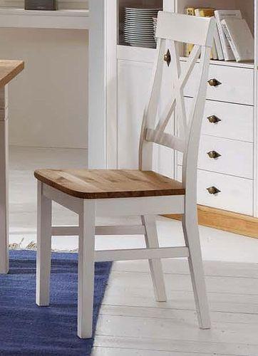 Küchenstuhl 2farbig weiß gelaugt geölt Kiefer Holzstuhl Vollholz Stuhl massiv – Bild 2