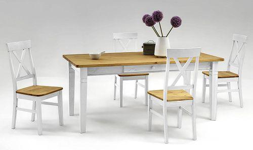 Essgruppe 2farbig weiß gelaugt Kiefer Tischgruppe Vollholz massiv – Bild 1