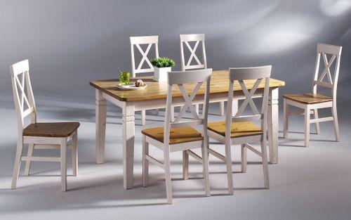 Essgruppe 7teilig 2farbig weiß gelaugt Kiefer Tischgruppe Vollholz massiv – Bild 1