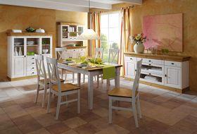 Esszimmer 10teilig, Tisch 160x90, 6 Stühle, Highboard, Sideboard, Buffetschrank, Kiefer massiv 2farbig weiß lasiert / gelaugt geölt