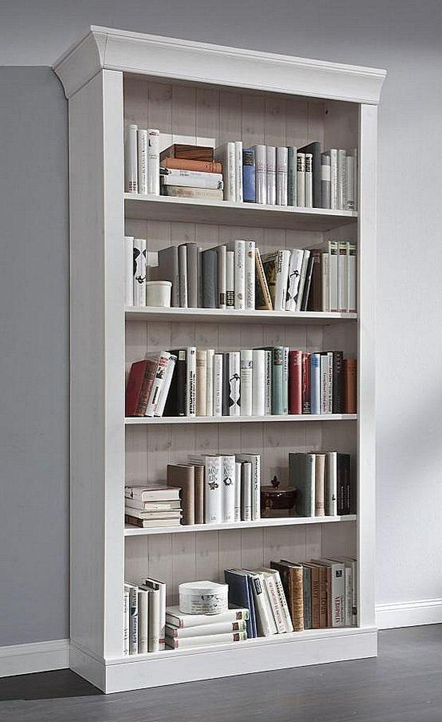 Bücherregal weiß  Standregal 108x202x38cm, 5 Fächer, Kiefer massiv weiß lasiert