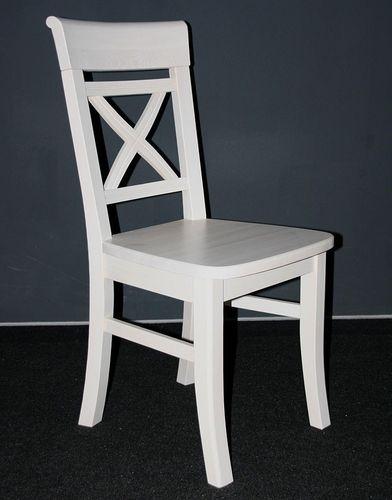 Stuhl weiß lasiert Kiefer Holzstuhl Küchenstuhl Vollholz massiv – Bild 1