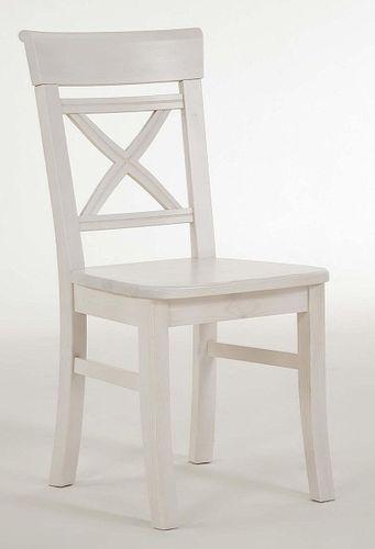 Stuhl weiß lasiert Kiefer Holzstuhl Küchenstuhl Vollholz massiv – Bild 5
