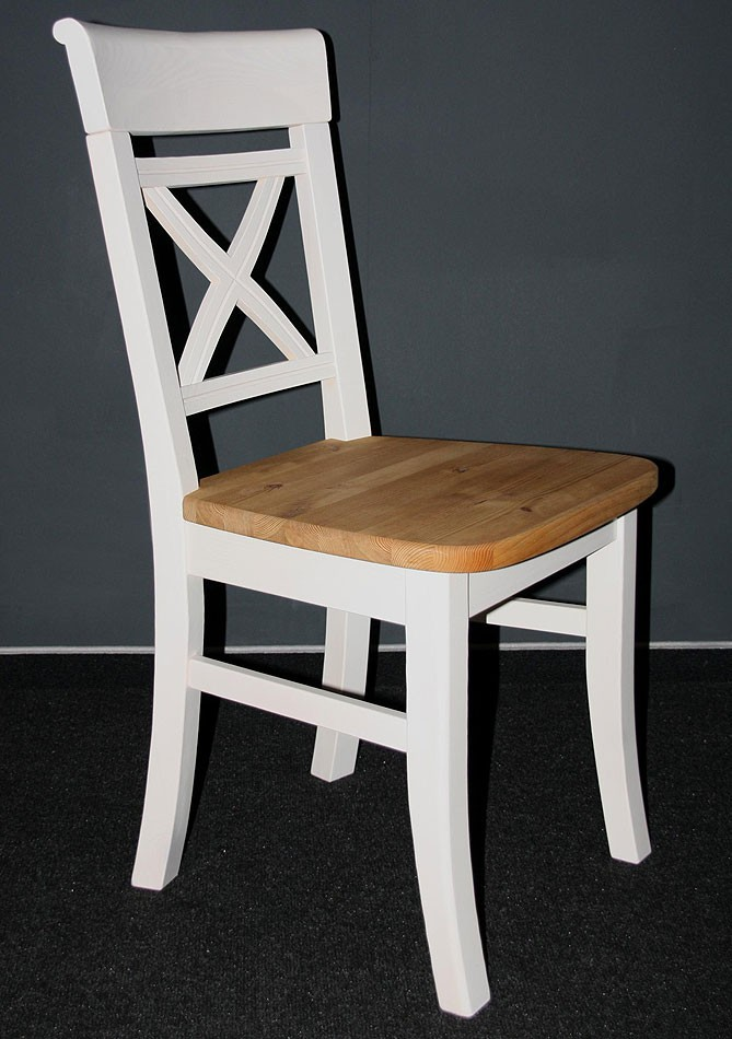Holzstuhl Weiß stuhl 45x94x43cm ohne armlehnen kiefer massiv 2farbig weiß lasiert