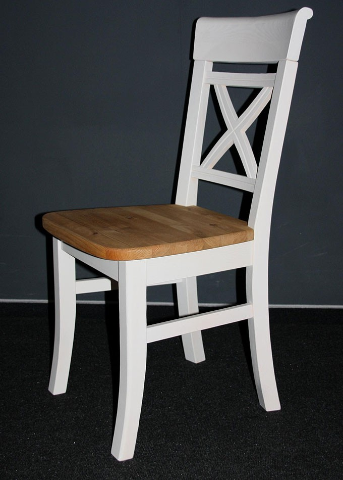 Stuhl 45x94x43cm ohne Armlehnen Kiefer massiv 2farbig weiß lasiert gelaugt geölt