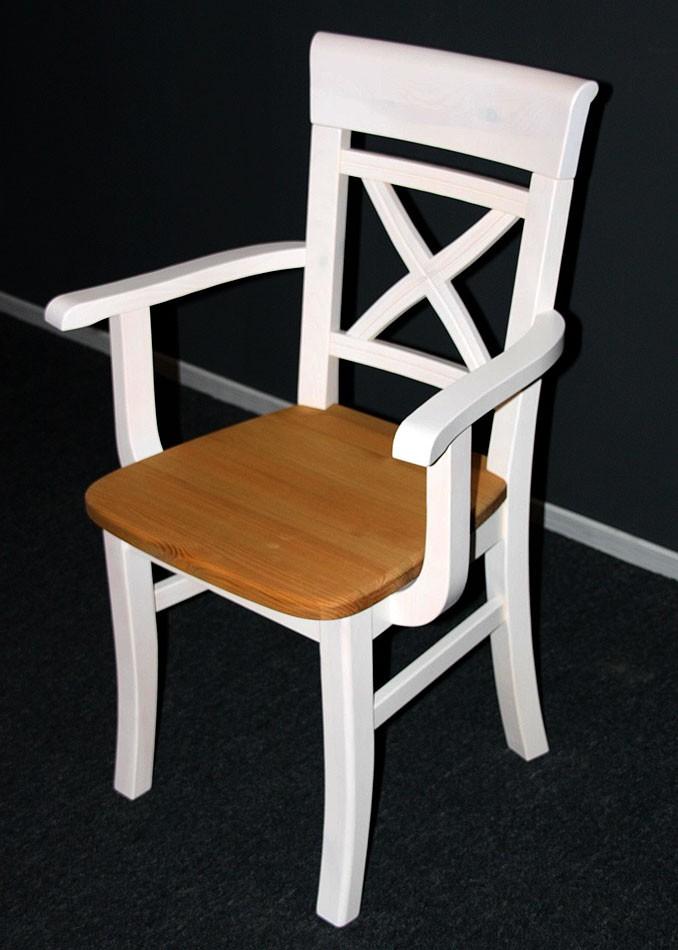 Armlehnstuhl 2farbig weiß gelaugt geölt Kiefer Esszimmerstuhl Vollholz massiv – Bild 2