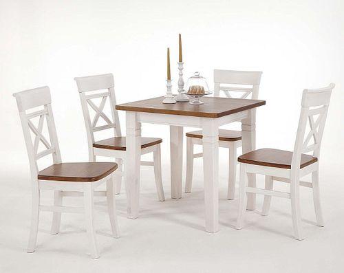 Küchentisch 78x78cm 2farbig weiß honig Kiefer Esstisch Tisch Vollholz massiv – Bild 1