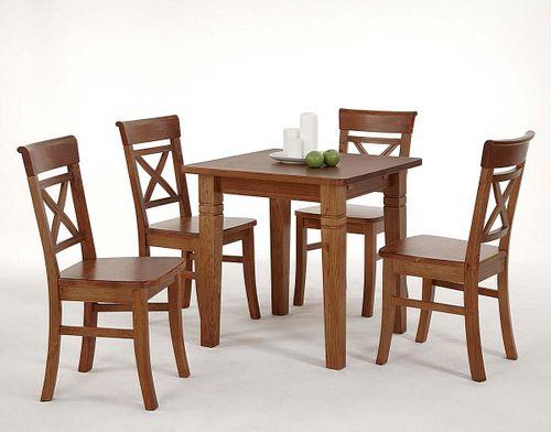 Küchentisch 78x78cm honig lackiert Kiefer Esstisch Tisch Vollholz massiv – Bild 1