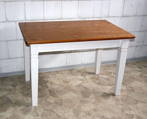 Küchentisch 120x78cm 2farbig weiß honig Kiefer Esstisch Tisch Vollholz massiv – Bild 1