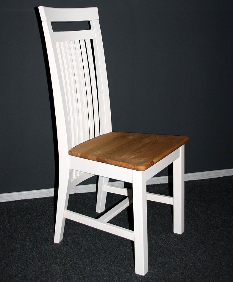 stuhl 45x103x48cm mit holzsitz kiefer massiv 2farbig wei lasiert gelaugt ge lt. Black Bedroom Furniture Sets. Home Design Ideas