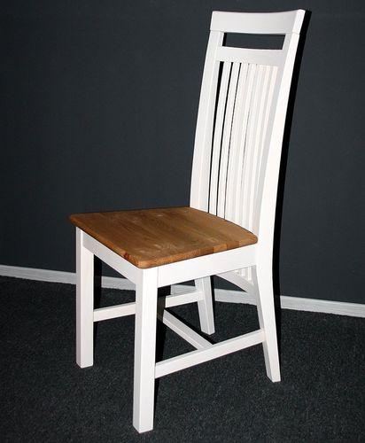 Holzstuhl Kiefer 2farbig weiß gelaugt Stühle Vollholz massiv Stuhl aus Holz – Bild 3