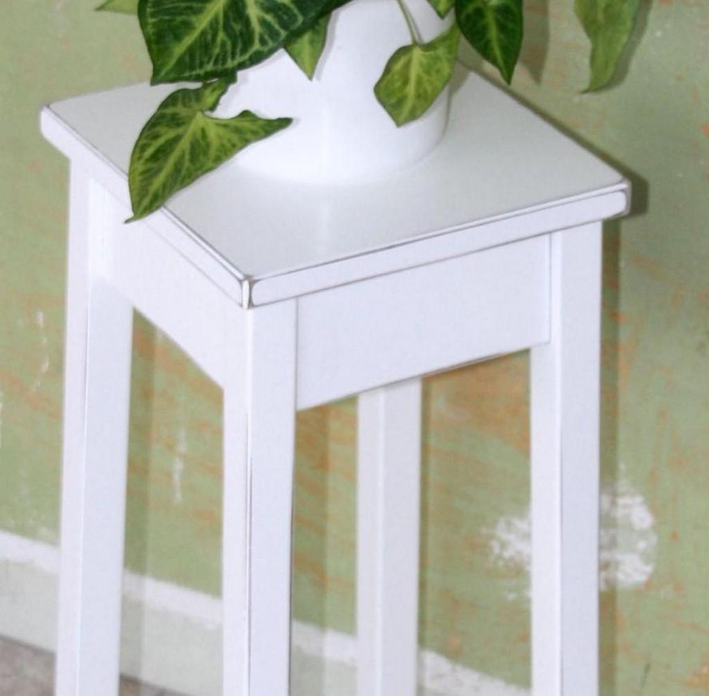 Blumentisch 29x60x29cm, Pappel Massiv Weiß Antik Lackiert