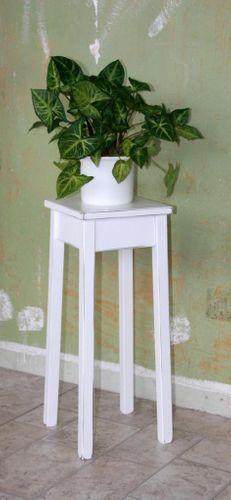 Blumentisch 60cm Beistelltisch weiß antik quadratisch Pappel massiv – Bild 1