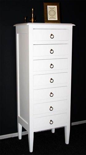 Schubladenkommode weiß lackiert Apothekerkommode Schubladenschrank Pappel massiv – Bild 2