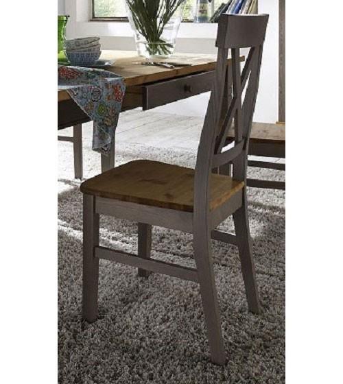 Stuhl 45x94x43cm kiefer massiv 2farbig grau lasiert for Esszimmerstuhl farbig