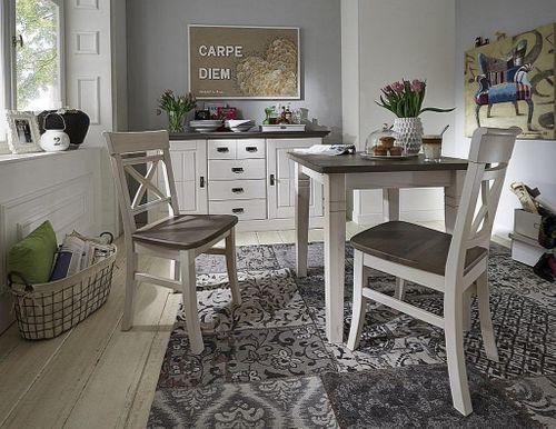 Stuhl 2farbig weiß grau Kiefer Holzstuhl Küchenstuhl Vollholz massiv – Bild 3