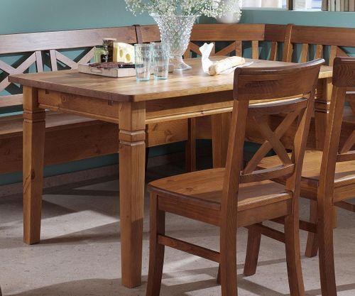 Esstisch 140x90cm honig lackiert Kiefer Esszimmertisch Tisch Vollholz massiv – Bild 1