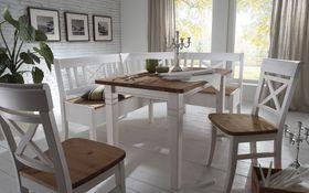 Essgruppe 4teilig, Eckbank, Tisch, 2 Stühle, Kiefer massiv 2farbig weiß lasiert / gelaugt geölt