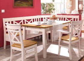 Essgruppe 4teilig, Eckbank, Tisch, 1 Stuhl, 1 Armlehnstuhl, Kiefer massiv 2farbig weiß lasiert / gelaugt geölt