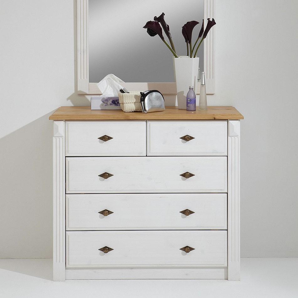 w schekommode 101x87x48cm 3 2 schubladen kiefer massiv 2farbig wei lasiert gelaugt ge lt. Black Bedroom Furniture Sets. Home Design Ideas