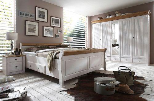Nachttisch Nachtschrank Nachtkommode Kiefer massiv weiß gelaugt – Bild 2
