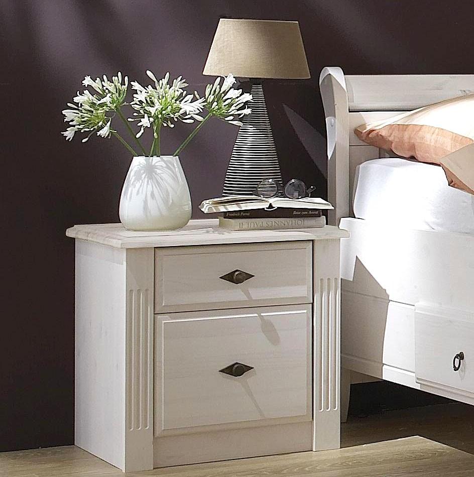 nachtkommode 53x53x46cm kiefer massiv wei lasiert. Black Bedroom Furniture Sets. Home Design Ideas