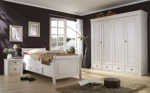 Bett mit Schublade 90x200cm Holzbett Kiefer massiv weiß – Bild 2