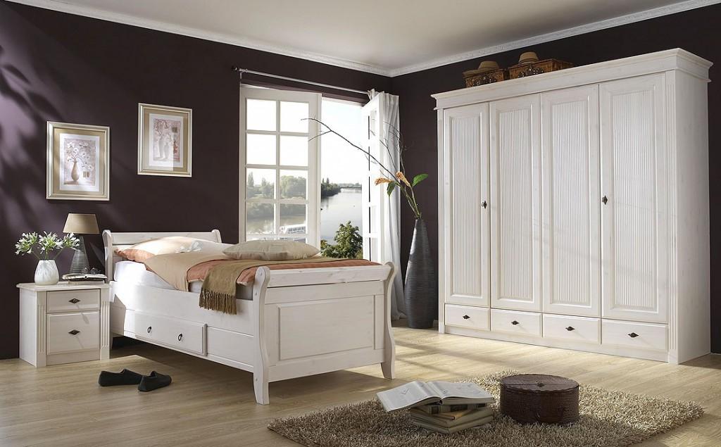 Bett mit Schublade 100x200cm Holzbett Kiefer massiv weiß