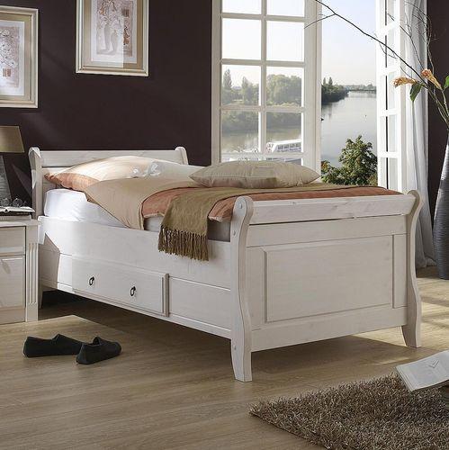 Bett mit Schublade 100x200cm Holzbett Kiefer massiv weiß – Bild 1