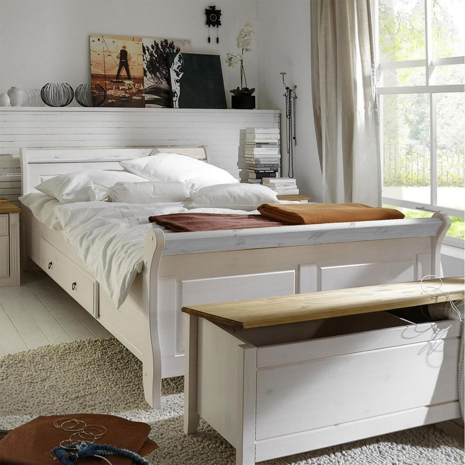 bett mit schubladen 140x200cm holzbett kiefer massiv wei. Black Bedroom Furniture Sets. Home Design Ideas