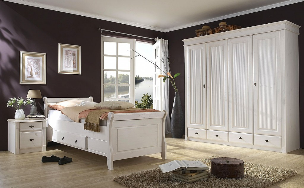 bett 180x200 mit 2 schubladen kiefer massiv wei lasiert. Black Bedroom Furniture Sets. Home Design Ideas