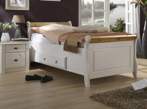 Bett mit Schublade 100x200 Holzbett Kiefer massiv weiß gelaugt – Bild 1
