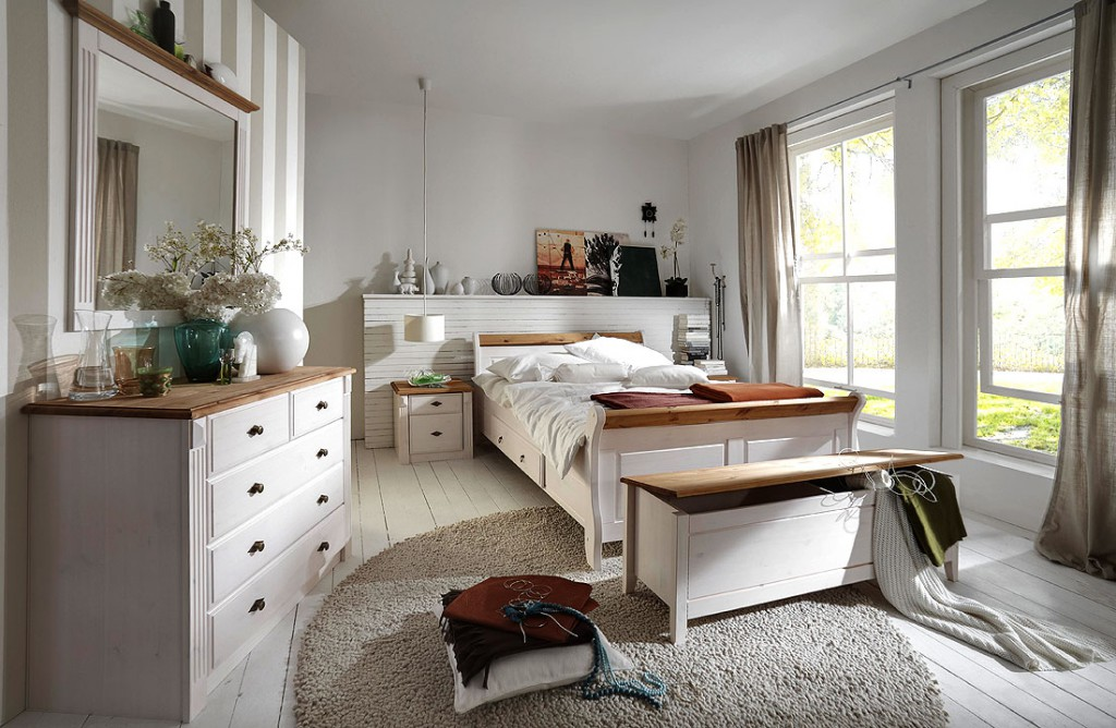 bett mit schubladen 140x200 holzbett kiefer massiv wei gelaugt. Black Bedroom Furniture Sets. Home Design Ideas