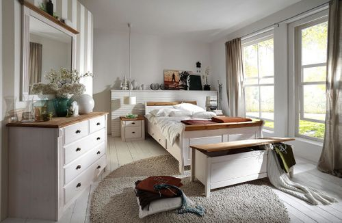 Kommode Wandspiegel Dielen-Set weiß gelaugt Landhausstil – Bild 5
