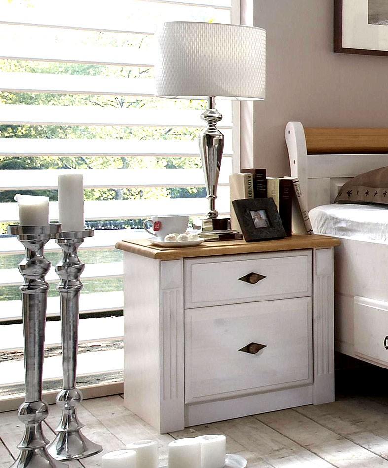 Schlafzimmer EVA komplett Set Kiefer weiß gelaugt im Landhausstil