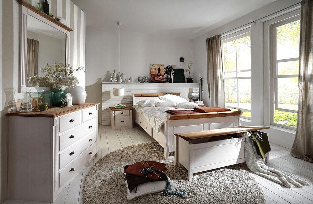 Massivholz Schlafzimmer komplett Set weiß gelaugt Landhausstil