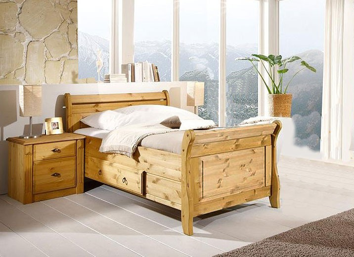 bett mit schublade 100x200 holzbett kiefer massiv gelaugt. Black Bedroom Furniture Sets. Home Design Ideas