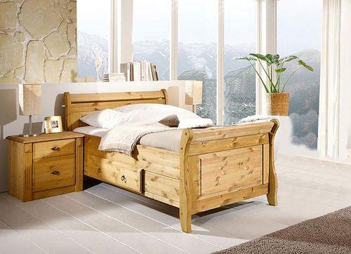 Bett mit Schublade 100x200 Holzbett Kiefer massiv gelaugt – Bild 1