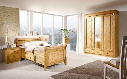 Bett mit Schublade 100x200 Holzbett Kiefer massiv gelaugt – Bild 2