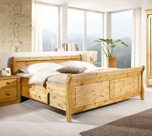 Bett mit Schubladen 140x200 Holzbett Kiefer massiv gelaugt – Bild 1