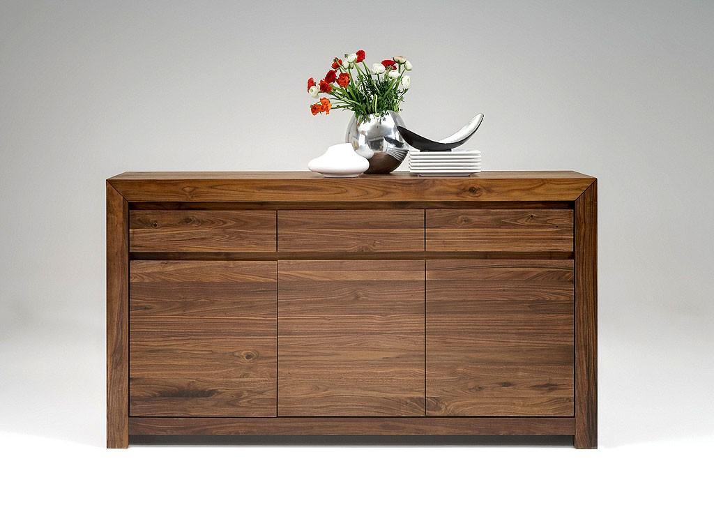 Massivholz Sideboard Anrichte Kommode Nussbaum Holz Gelt