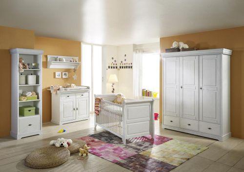 Kinderschrank Kinderzimmer Kiefer massiv Kleiderschrank weiß shabby-chic 3türig – Bild 5