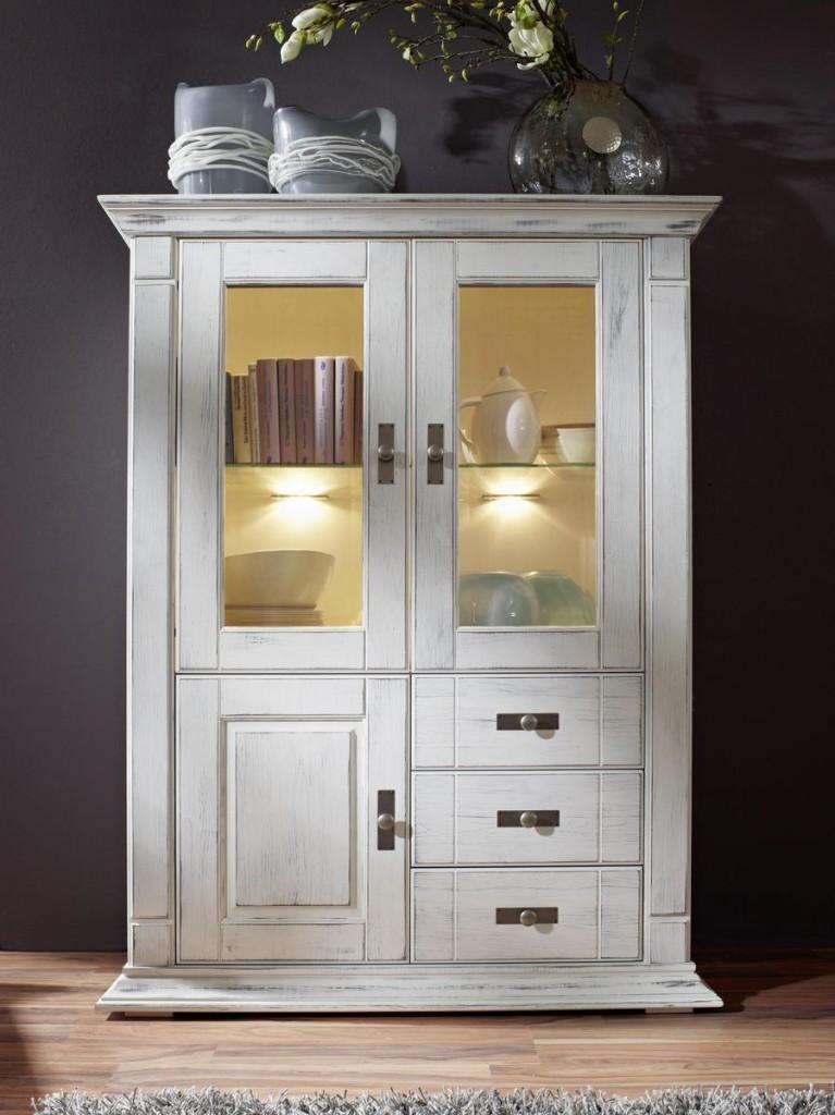 highboard wei vitrine kiefer shabby chic. Black Bedroom Furniture Sets. Home Design Ideas