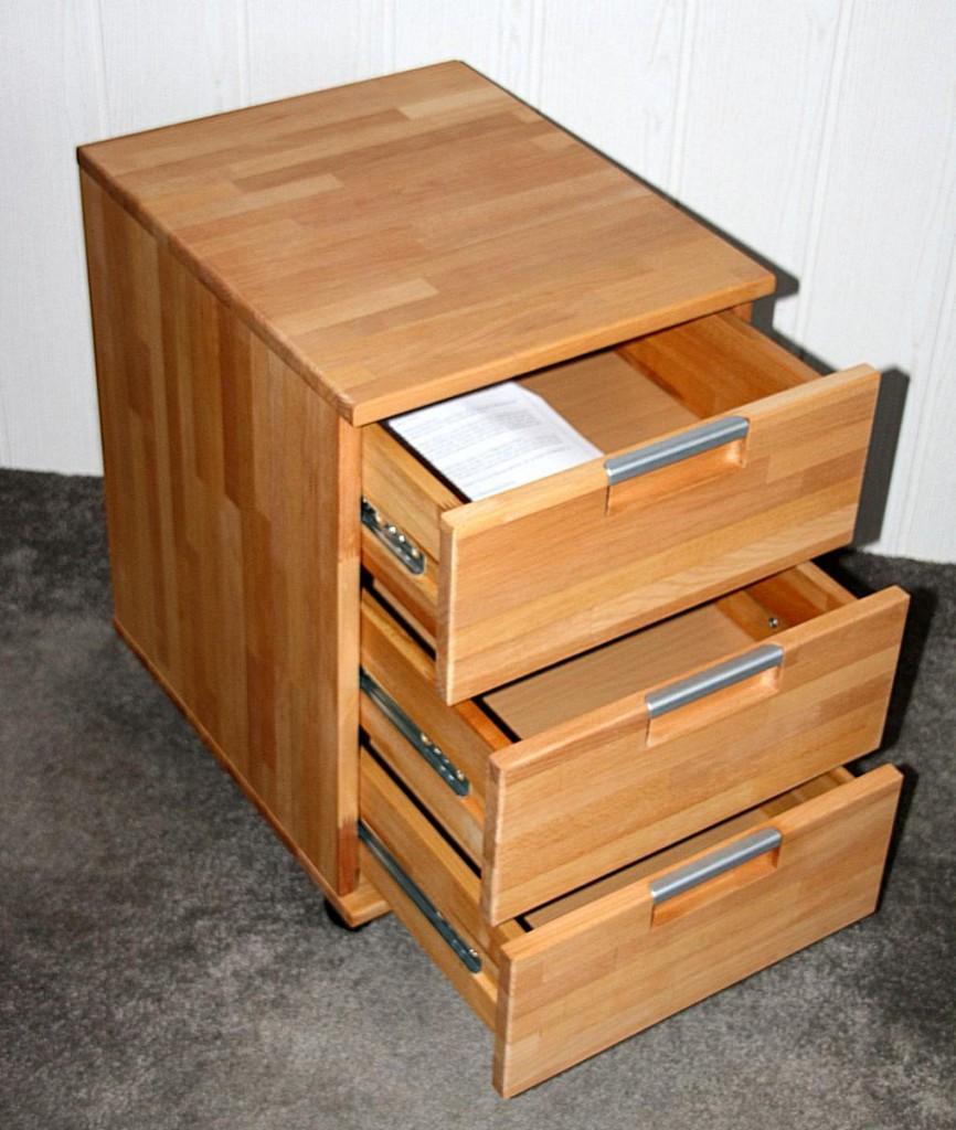 Massivholz Rollcontainer Aktenschrank Rotkernbuche Geolt