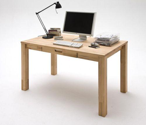 Schreibtisch mit Schublade Computertisch 140x80 Kernbuche massiv geölt gewachst – Bild 1