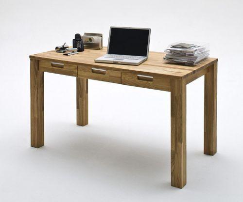 Schreibtisch mit 3 Schubladen Computertisch 135x70 Eiche massiv geölt gewachst