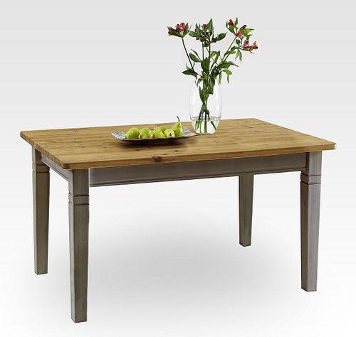 Küchentisch 120x78cm 2farbig grau gelaugt geölt Kiefer Esstisch Tisch Vollholz massiv – Bild 1