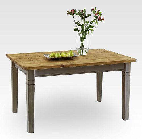 Esstisch 140x90cm 2farbig grau gelaugt geölt Kiefer Esszimmertisch Tisch Vollholz massiv – Bild 1