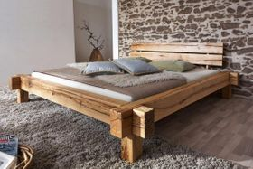 Balkenbett 180x200 Bett Vollholz Rustikal Doppelbett Wildeiche massiv geölt 001